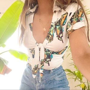 deep v butterfly too // free people